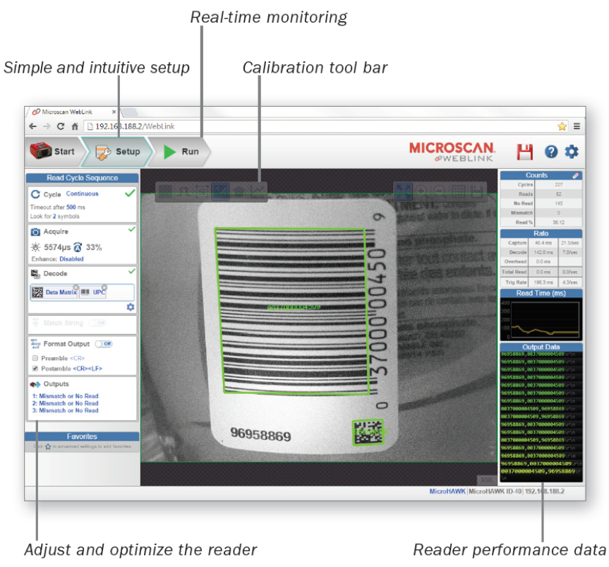 Web link browser based interface to the microhawk